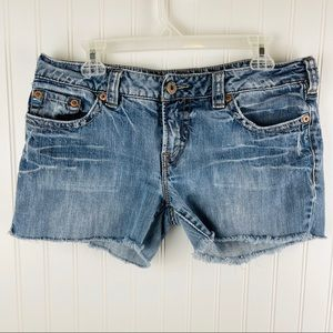 Silver Aiko Cutoff Jean Shorts Size 33 Blue